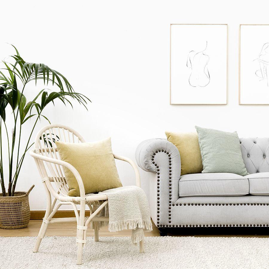 sillón de ratán y sofá tipo Chester.