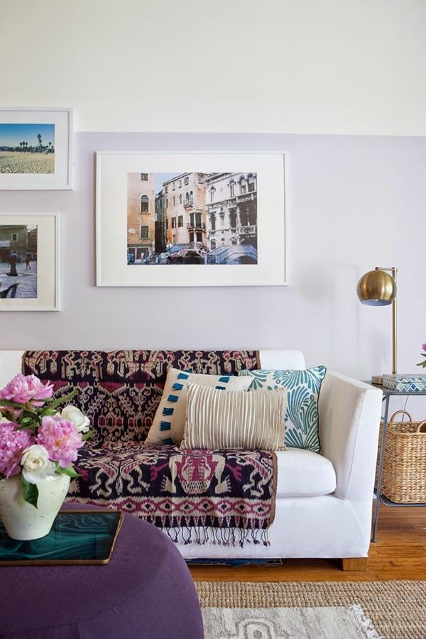 Sofá blanco con tapizado especial