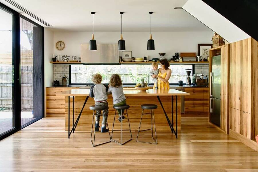 suelo madera en cocina