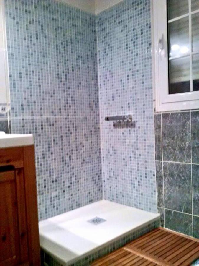 Azulejos ducha lisos de brown azulejos duchas de bao con borde de mosaico de brown y wall - Azulejos ducha ...