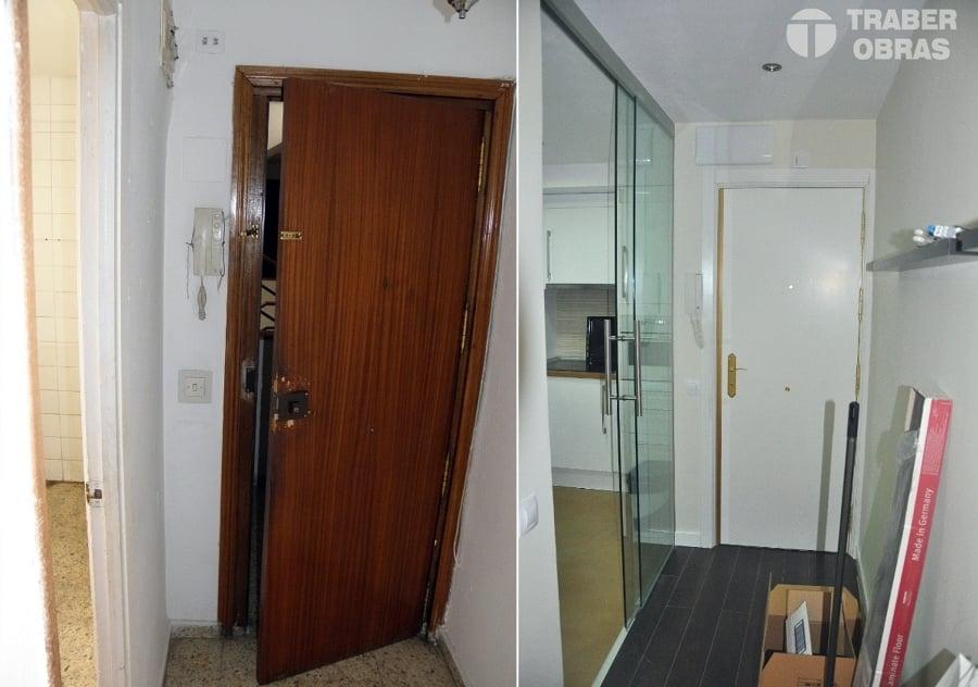 Sustitución de puerta blindada. Antes y después.