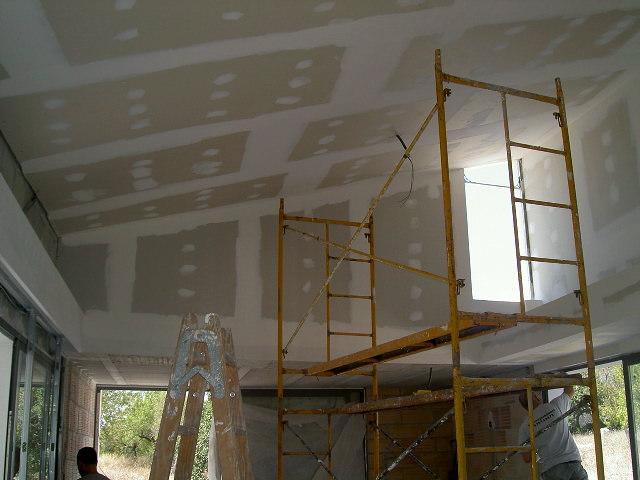 Foto techo inclinado de obra seca techos y tabiques - Como colocar un techo de pladur ...