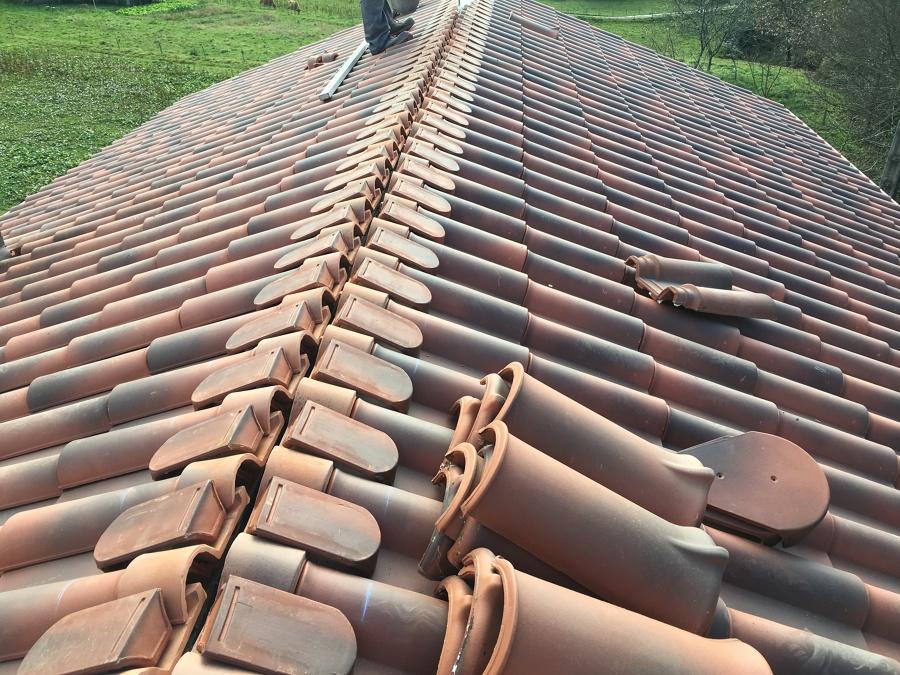 Tejado ventilado de teja cerámica mixta