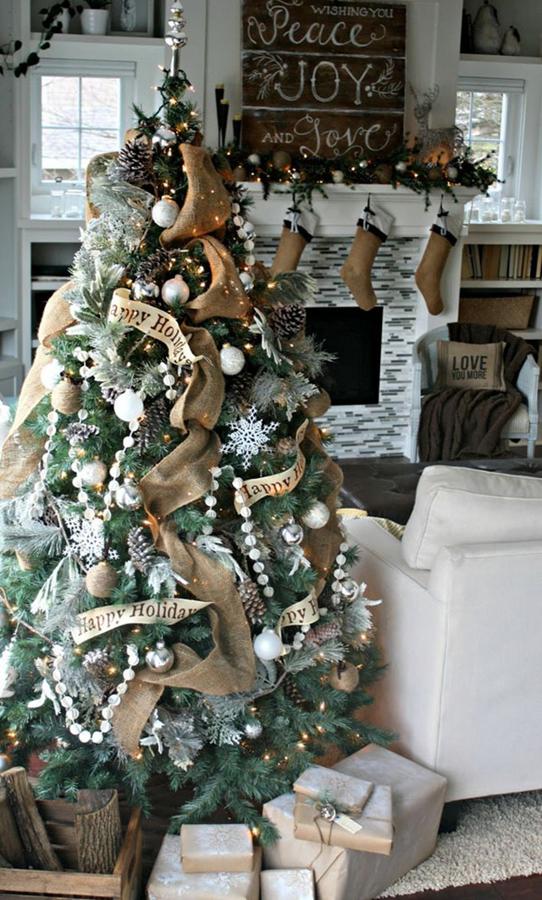 Tendencias Navidad Pinterest decoración del árbol y chimenea