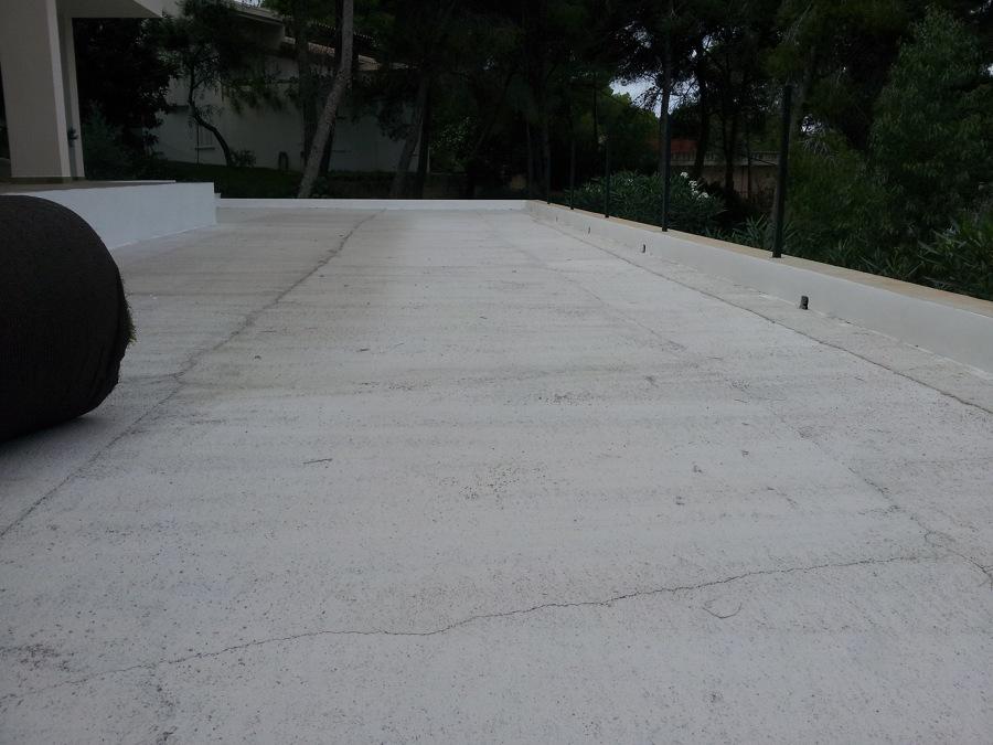 Terraza con hormigón