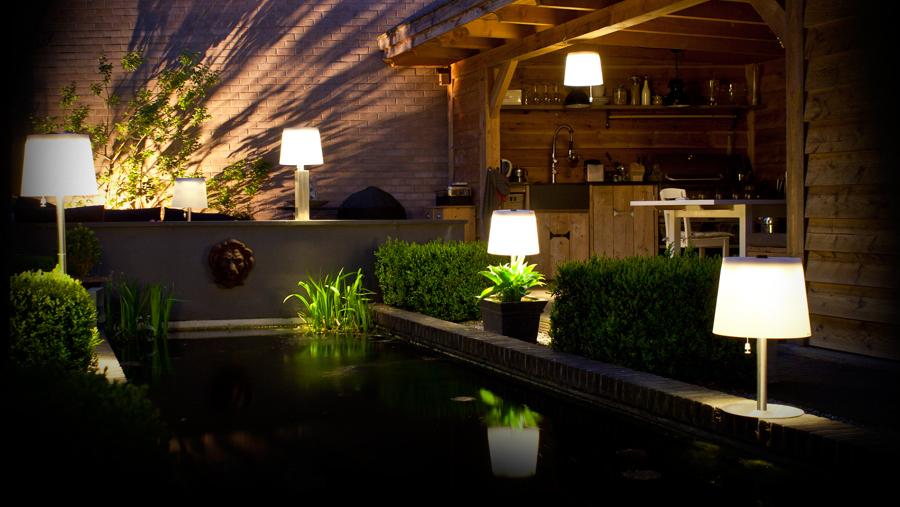 terraza con lmparas