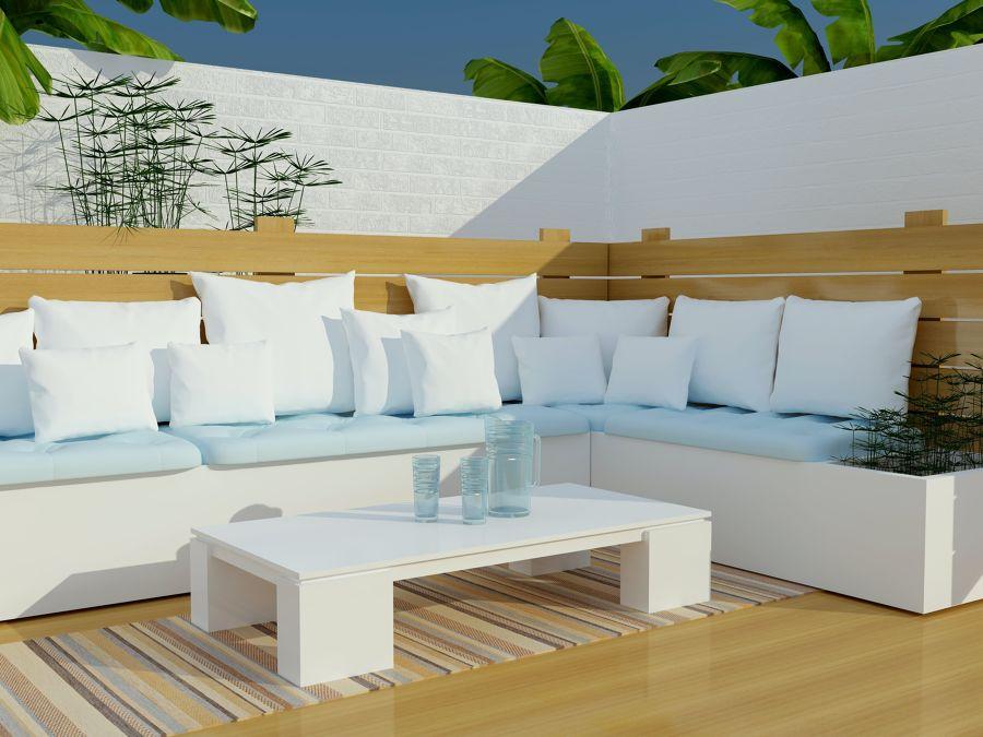 Terraza con muebles a medida