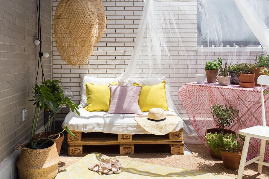 Terraza con palés de madera