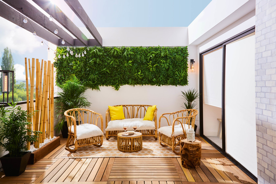 terraza con suelo de madera
