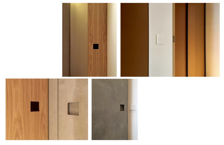 Tiradores diseñados para las puertas correderas de la vivienda.