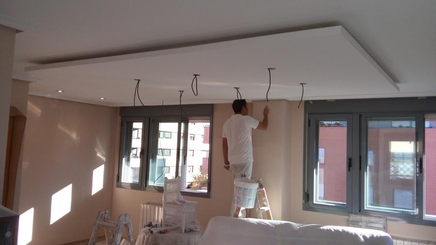 Falso techo isla en vivienda ideas reformas viviendas for Placas de pladur para techos