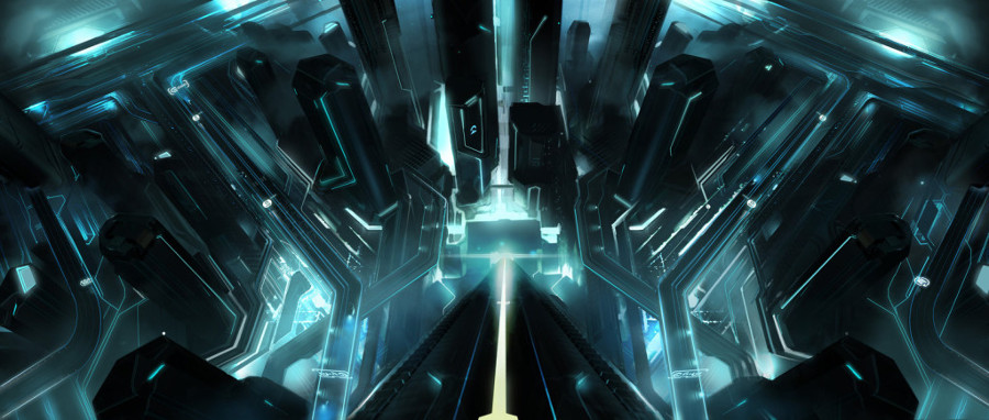 Tron_legacy_under_the_tower_by_vyle_art-d3878ux-1024x435