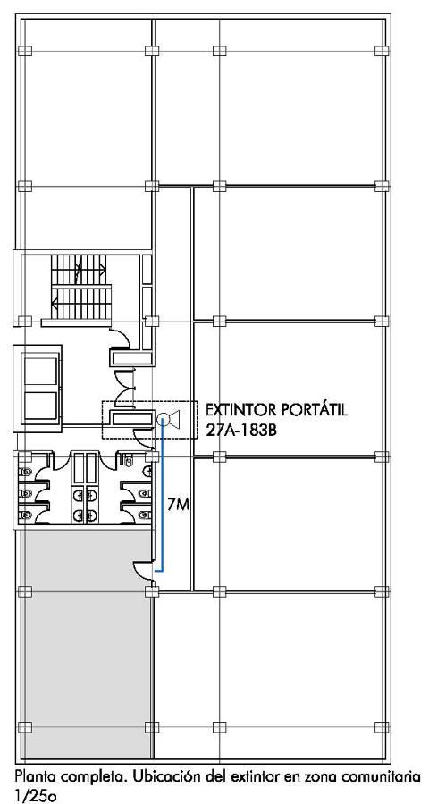 Foto ubicaci n de los extintores en planta con respecto a for Ubicacion de las oficinas