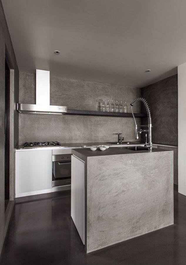 cocina de cemento vanguardista