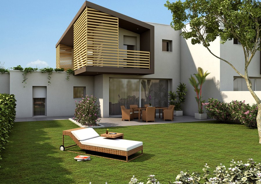 Exteriores fachadas jardines y piscinas varios proyectos for Diseno de jardines frentes de casas