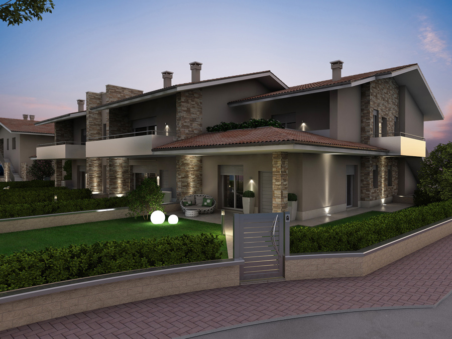 Exteriores fachadas jardines y piscinas varios proyectos for Jardines exteriores para oficinas