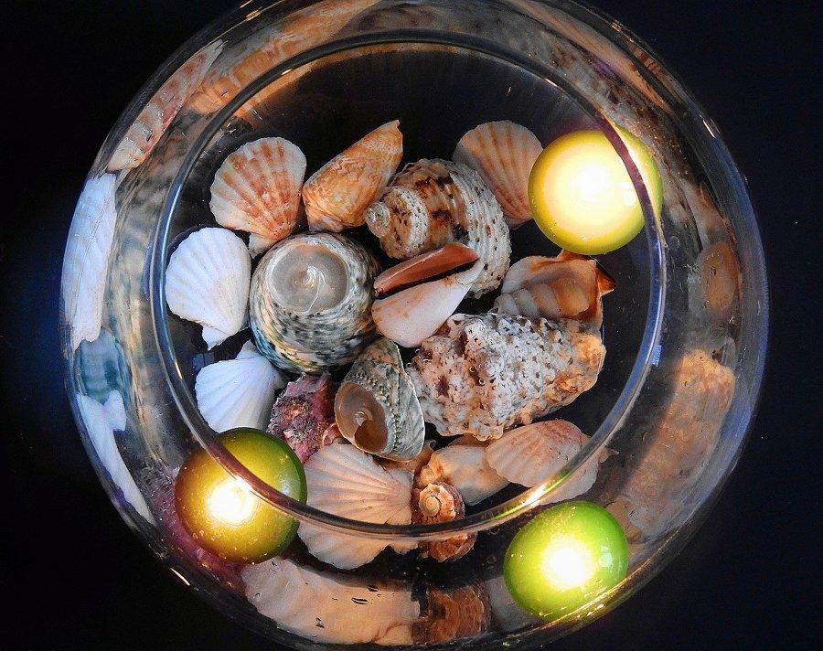 Velas con conchas
