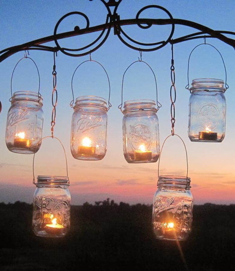 lamparas con velas y tarros de vidrio