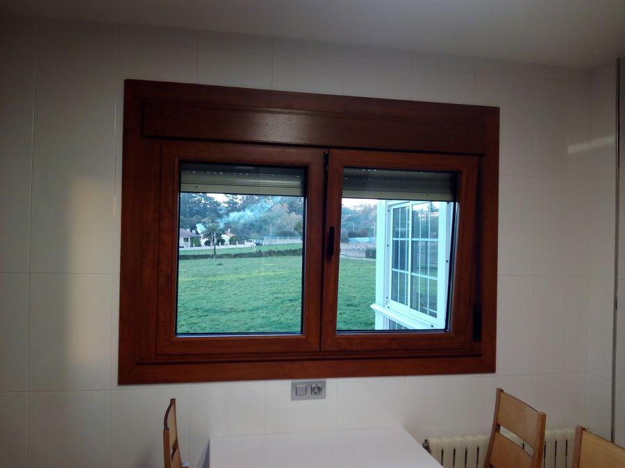 ventana de dos hojas con herraje oculto
