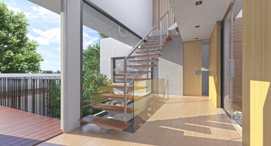 Foto vest bulo de acceso y escalera de nu o arquitectos - Patio ingles ...