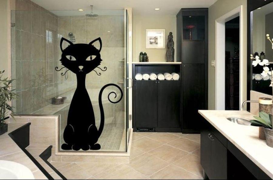 Foto vinilo decorativo gato en mampara de la ducha de - Vinilos decorativos en valencia ...