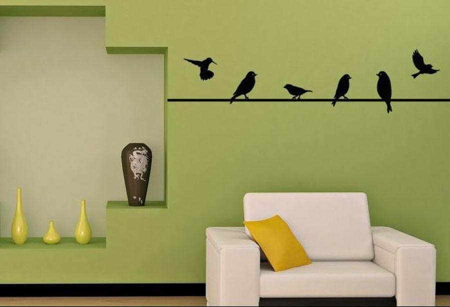 Foto vinilo pajaritos sobre el hilo de decoraci n for Vinilos juveniles chico