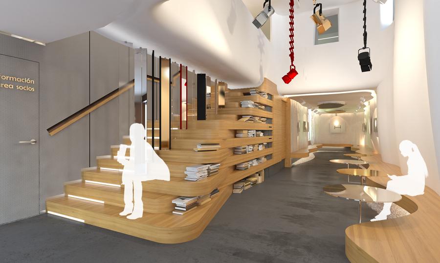 vista d de la escalera biblioteca