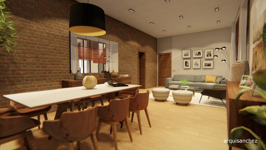 Vista 3d salón comedor