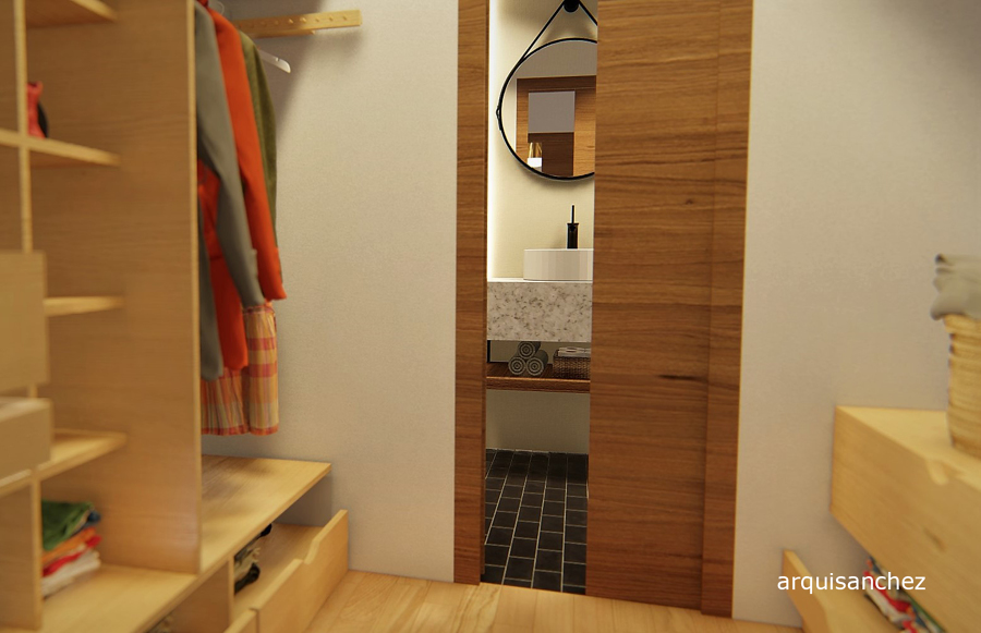 Vista 3D vestidor-baño