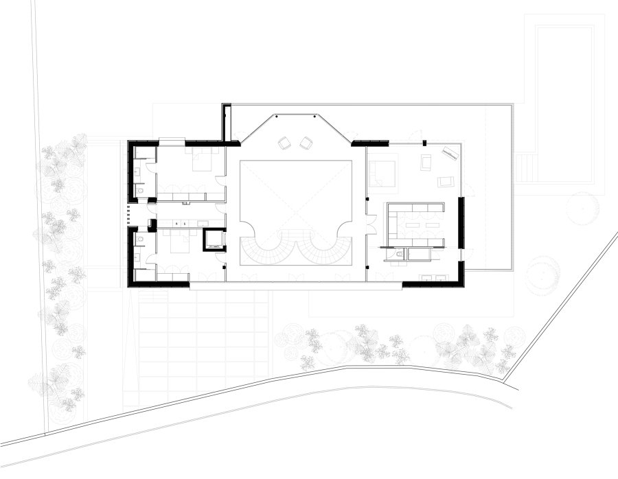 vista aerea planta de parcela y casa.