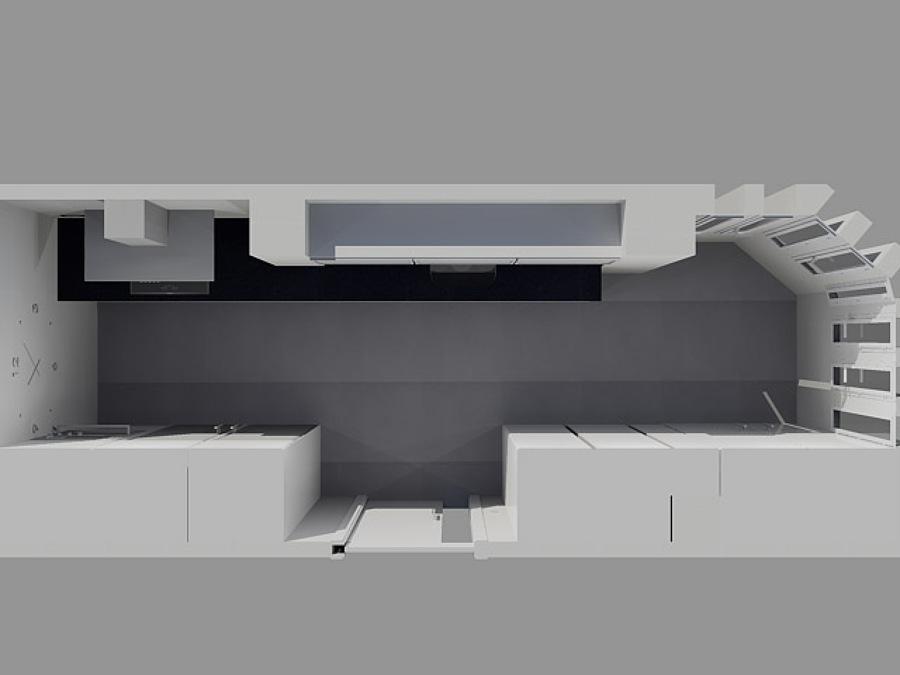 Vista cocina en 3D desde arriba