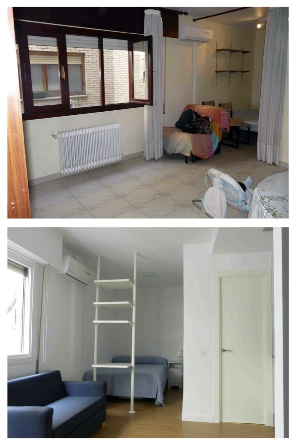 Vista de antes y después del área de dormitorio