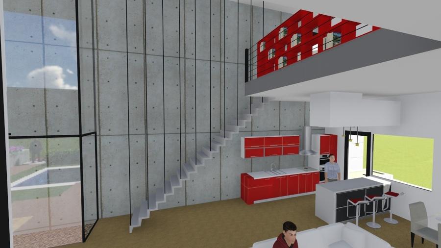Foto vista de la cocina y la doble altura al sal n - Salon doble altura ...