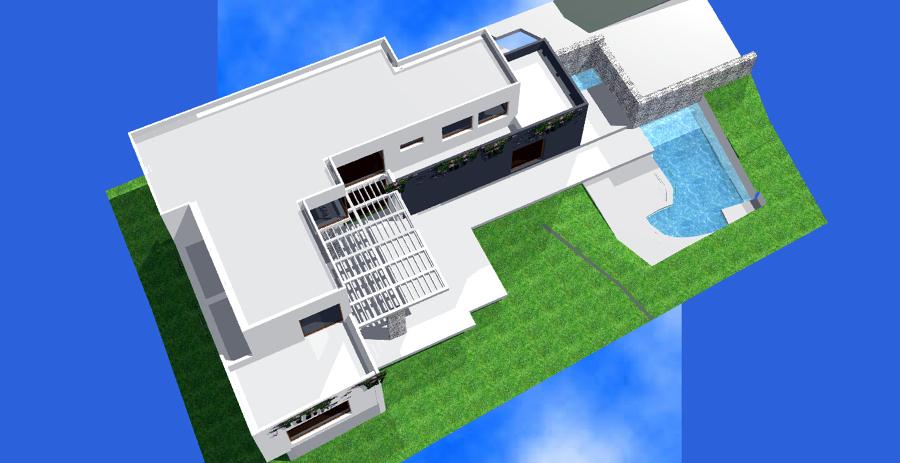Foto vista de p jaro de arquitectura paloma iniesta for Casa minimalista torrelodones