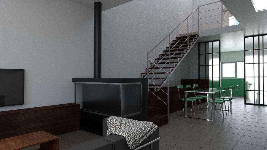 Vista de salón-comedor-cocina