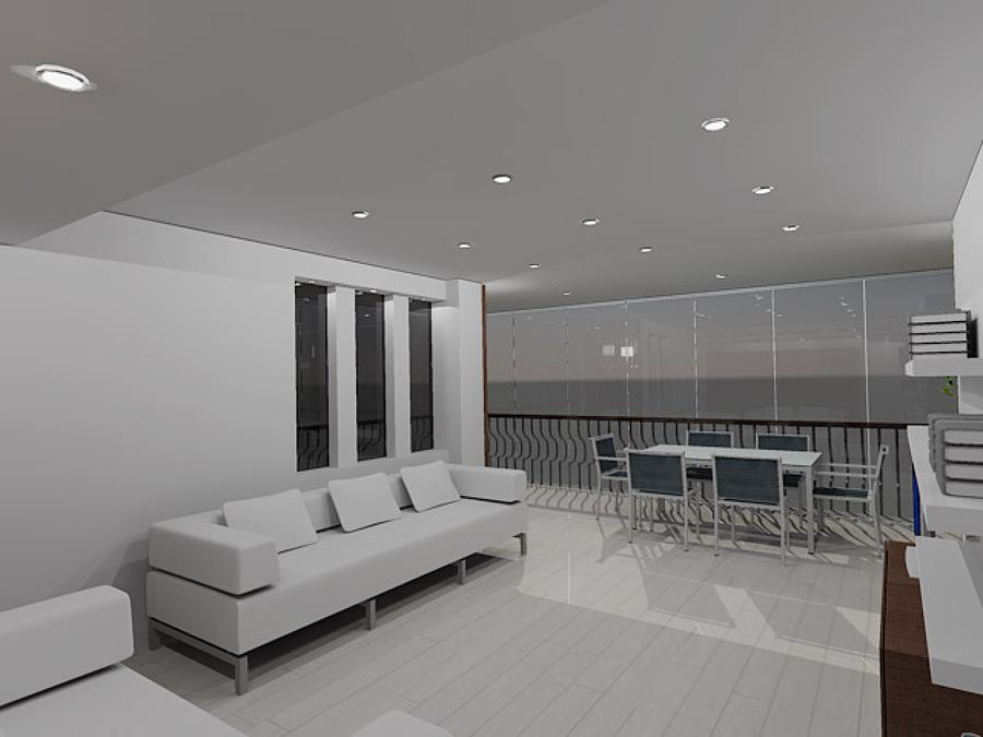 Vista de salón con terraza en 3D