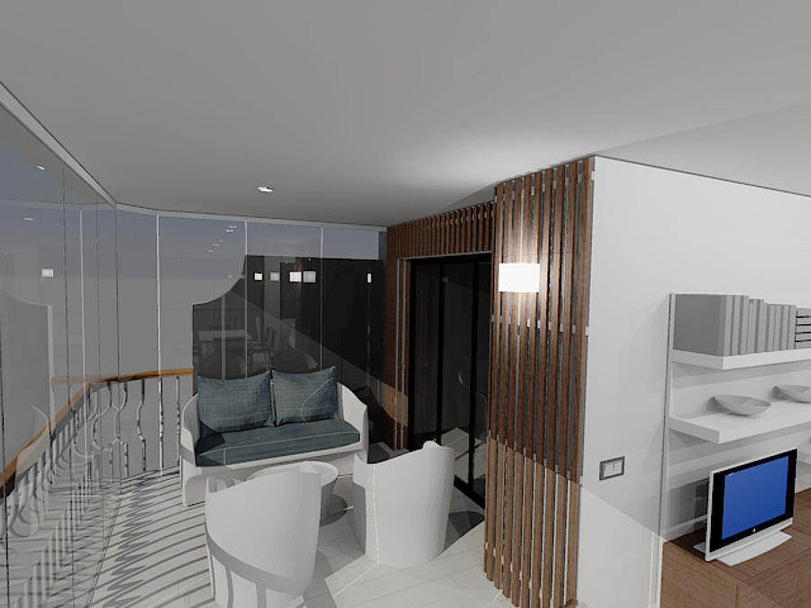 Vista de terraza en 3D