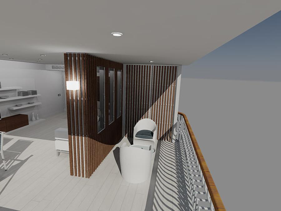Vista de terraza y cuarto aire acondicionado en 3D