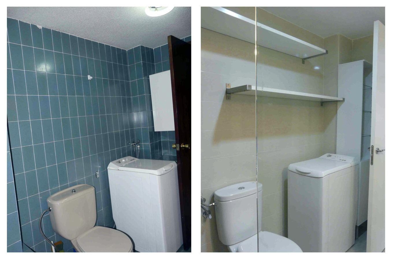Vista del baño antes y después de la reforma