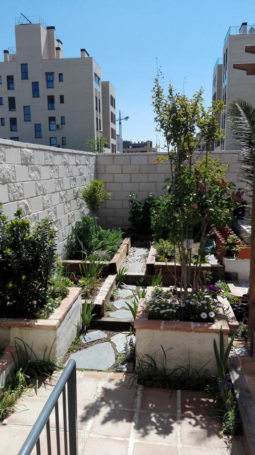 Vista del huerto y jardineras