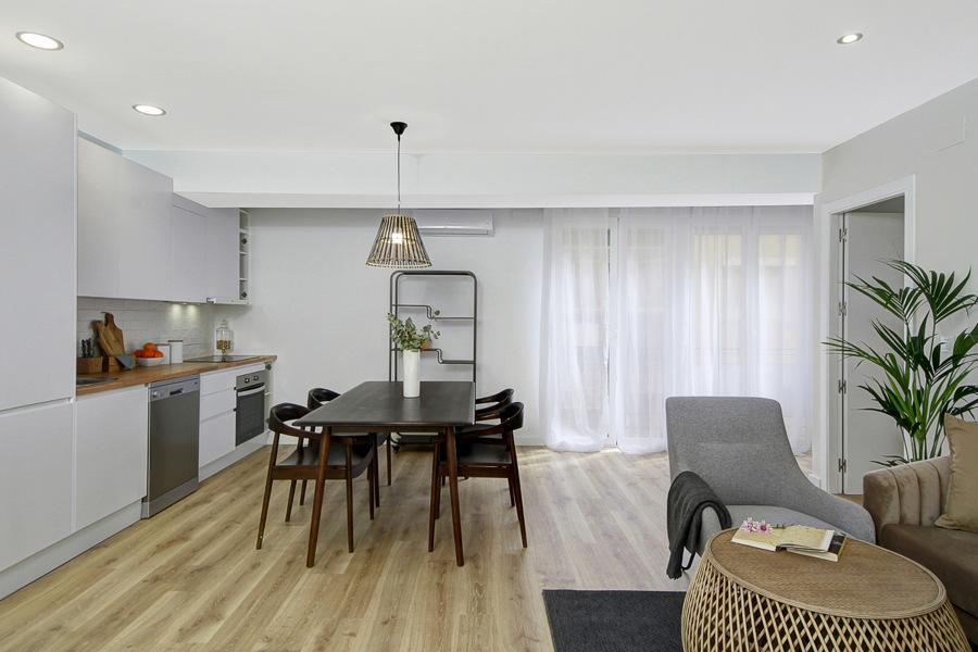 Vista del salón cocina