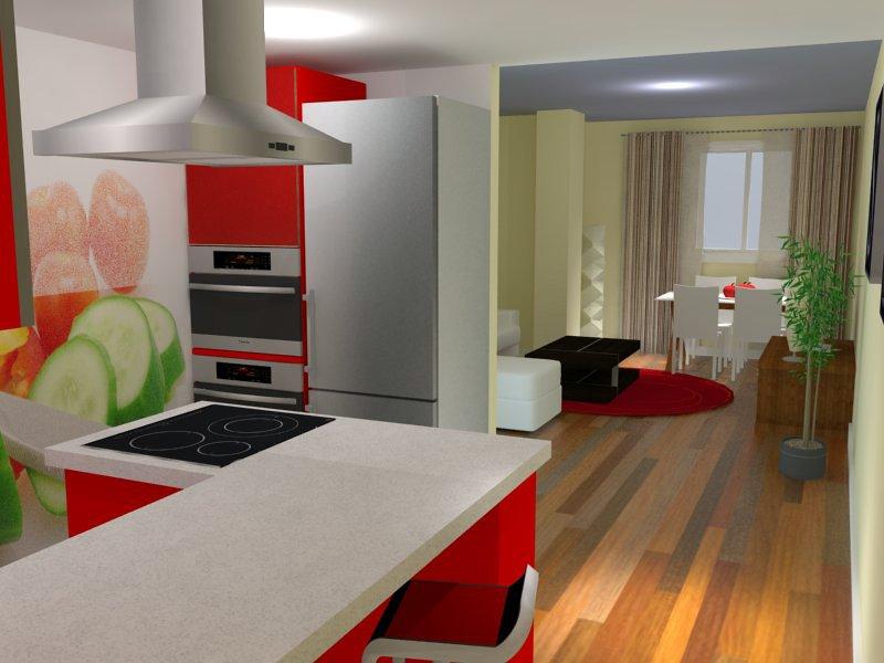 Estudio virtual de reforma integral de vivienda tipo loft for Cocina industrial tipo loft