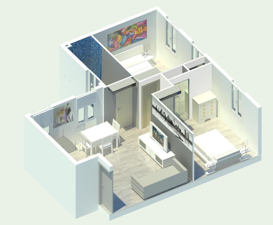 Vista General decorada en 3D de la vivienda