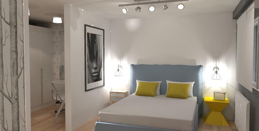 Vista General Dormitorio Minimalista