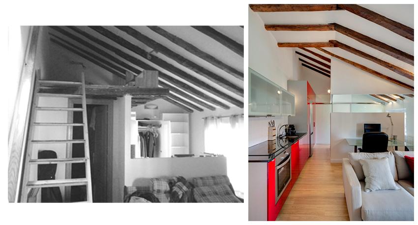 Vista hacia la habitación antes y después