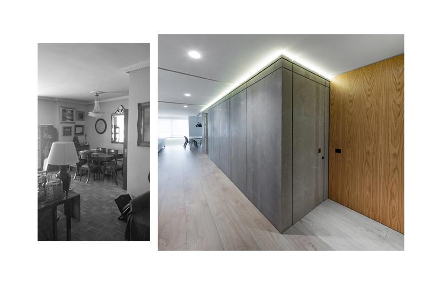 Vista hacia la zona de comedor, antes y después