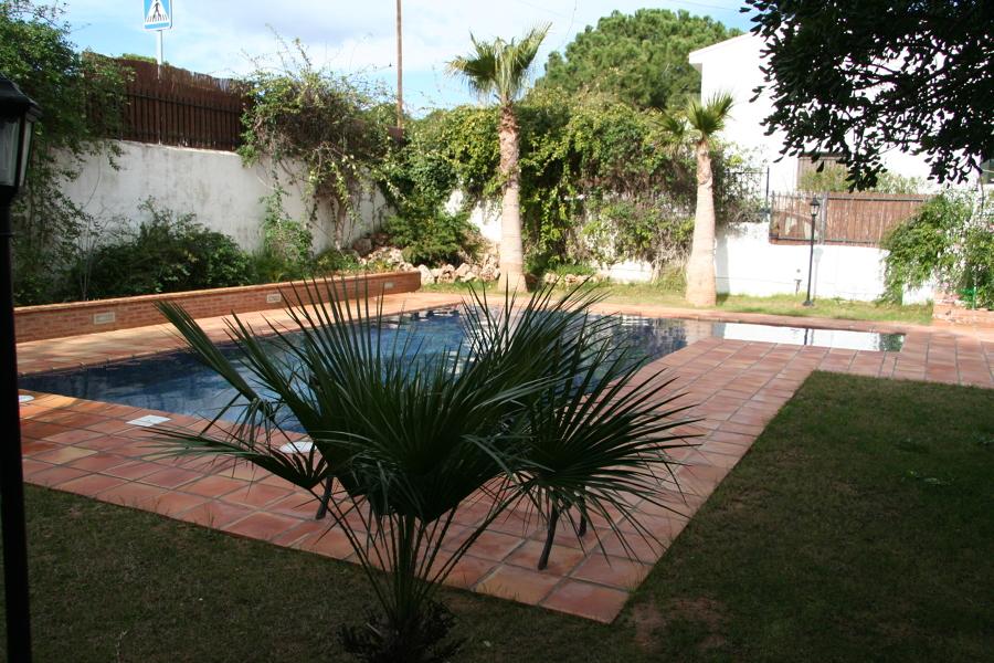 Vista piscina y macetero lateral con iluminación