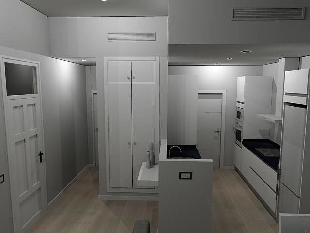 Vista recibidor-cocina