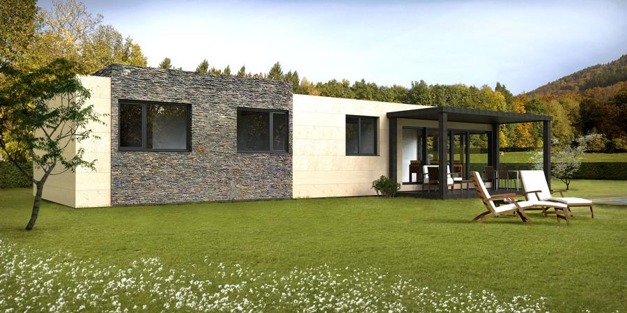 Vista trasera de la Casa Cube de 100 m2