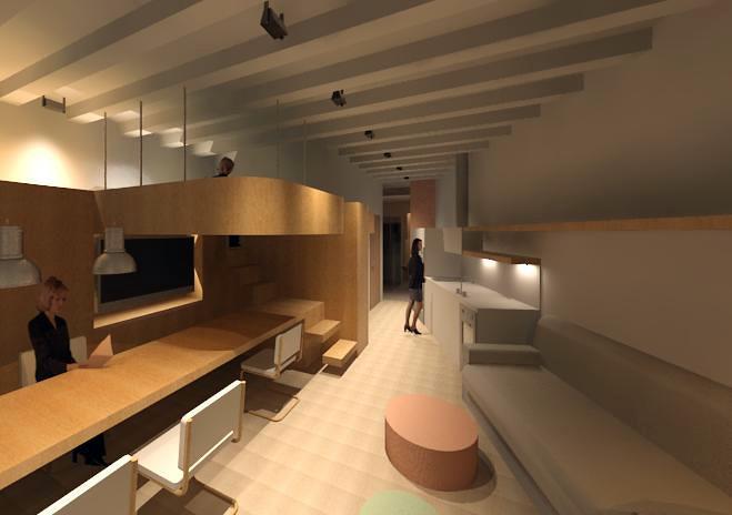 Vista zona comedor - sala de estar - cocina - dormitorio